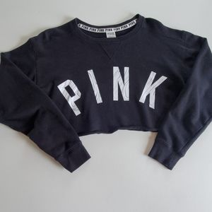 PINK cropped pullover graphic  sweatshirt small